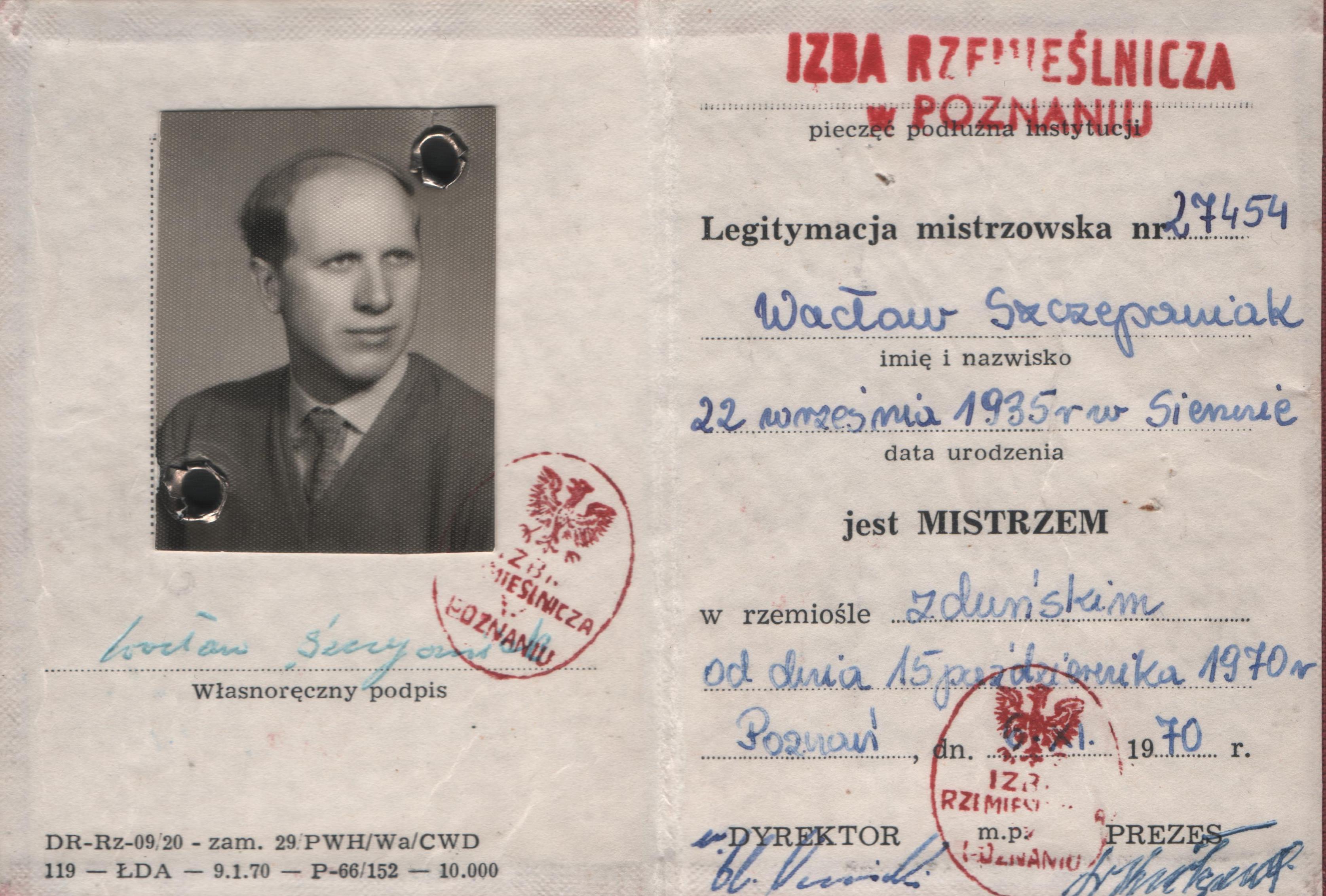 Legitymacja mistrzowska nr 27454 Wacława Szczepaniaka z 1970 r. - zbiory rodzinne