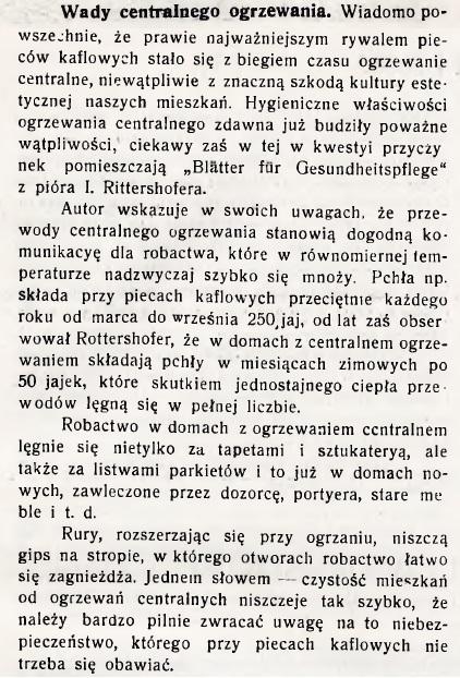 Wady centralnego ogrzewania 1911